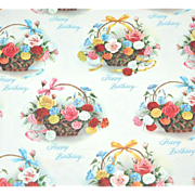 SALE 1960s Birthday Flower Baskets Gift Wrap/ Wrapping Paper
