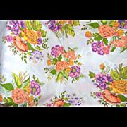 SALE 1960s Bibb Co. Queen Size Orange & Purple Flower No-Iron Flat Sheet