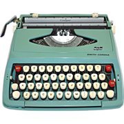 SALE 1950s Smith Corona Cougar Aqua Blue Portable Manual Typewriter, Hard Case & Instructions