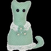 SALE Primitive Cat w/ Button Eyes Fabric & Lace Pillow