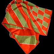SALE Ricardo Orange & Green Diamond Shapes & Stripes Signature Scarf