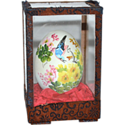 SALE Artist Signed Hand-painted Blue Jay w/ Flowers on Egg in Glass Case