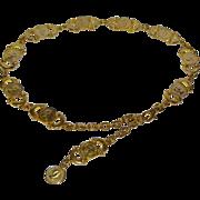 SALE 1960s Elizabeth II Dei Gratia Regina Faux Coin Design Heavy Goldtone Chain Link Belt