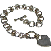 SALE Sterling Silver Heart Charm Toggle Clasp Link Bracelet