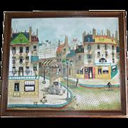 SALE Large Listed French Artist Robert Scott Original Oil Street Scene Impressionist Painting