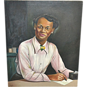 SALE Listed Artist Robert Neal (Student of Hale Woodruff) African-American Lady Portrait Oil P
