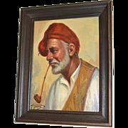 SALE Giorgia Fraia 20th C Italian Artist 'Old Man Smoking Pipe' Framed Oil on Canvas Painting
