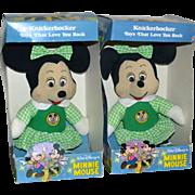 SALE Knickerbocker Minnie Mouse in Green Dress 'Mickey Mouse Club' Soft Doll w/ Original Box