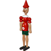 "SOLD Italian Pinocchio 12.5"" Handcrafted Wood Articulated Puppet"
