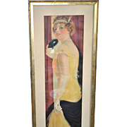 "SALE AMAZING 1917 Pabst Theater 38"" Long Masquerade Deco Lady Flapper Promotional Calenda"