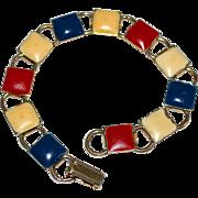 1960s Patriotic American Red, White & Blue Enamel Square Bookchain Bracelet