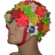 SALE 1960s SPEEDO Colorful Flower Rubber Swim Cap with Chin Strap