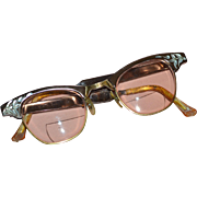 SALE Circa 1950s 1/10 12K GF Rose Pink Aluminum Cat Eye Eyeglasses