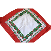 SALE NOS Set of 6 Christmas Red Berry & Green Holly White Fabric Napkins