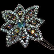 SALE Large Sparkly Prong-Set Aurora Borealis Rhinestone Flower Inspired Hair Barrette