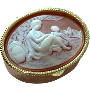 SALE Greek Inspired Mother & Child Cameo Style Oval Hinged Pill Box or Small Trinket Box