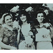 SALE Dated 1931 Small Black & White Photo of 3 Deco Ladies