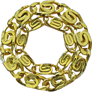 SALE Large & Heavy Abstract Circle Scarf Brooch/Pin