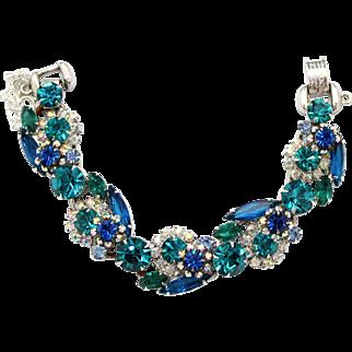 Vintage Juliana (D&E) Book Piece Blue, Teal & AB Rhinestone Bracelet