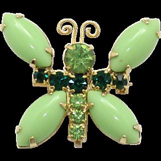 Vintage Peridot & Green Rhinestone Butterfly Brooch