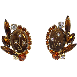 Vintage Juliana (D&E) Book Piece Topaz Rhinestone Etched Flower Earrings