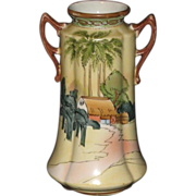 "Hand Painted Double-Handled Japanese Vase with Egyptian Styling; ""Bi Bi"" Mark"