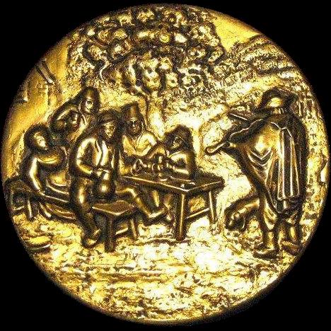 1950s  Men's Round Valet Box, Bas Relief 17th C. Flemish Art Style Drinking Scene
