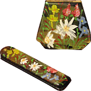 Wand Art Compact & Folding Comb Set 1950s - 60s Bright Hand Painted Flowers