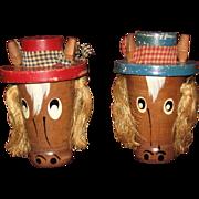 Comical Wooden Horse Salt and Pepper Shaker Set