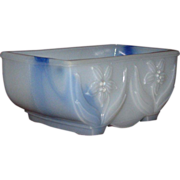 Blue Swirled Milk Glass Bulb Planter, Jonquil Pattern, Solid White Front