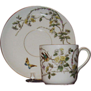 Charles Field Haviland, Limoges Hand Painted Demitasse Cup and Saucer