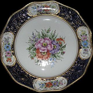 Floral and Cobalt Platter, Von Schierholz, Hand Painted, Artist Signed