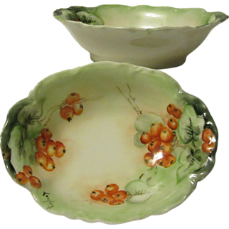 Pair of Haviland & Co. Limoges Red Berry Nut/Candy Dishes, Artist Signed