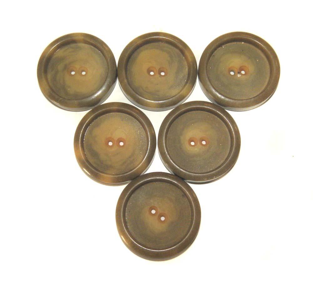 """6 Buttons Vintage True Deco BAKELITE Six COAT LARGE 1 1/2"""" Butterscotch Swirls"""