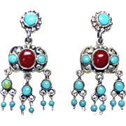 Native American SIGNED Artisan Dangle Earrings Turquoise Coral STERLING Silver Pierced