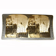 "Stereo View Card ALBUMEN Bedroom 1907 E W Kelley ""Putting a 15 Collar on a 16 Shirt"""