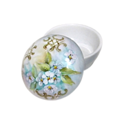 Hand Painted Trinket Box PORCELAIN Forget-Me-Nots  Signed