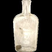 Hand Blown Warranted Flask Cork 7 oz. GLASS Late 1800s