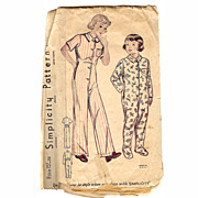 Simplicity 1940s Sewing Pattern PJs Union Suit ONE PIECE PAJAMAS Size 4 GIRLS