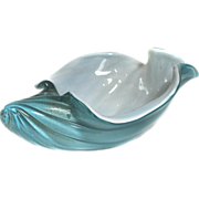 "REDUCED 1960s Large 13"" Turquoise  Murano Aventurine  BULLICANTE Conch AQUA Art Glass BOWL Dish"