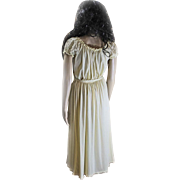 1940s Dutchmaid Nightie Nightgown Gown Pale Yellow Polyester Size 14