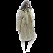 REDUCED *FREE SHIP IN US* Custom RUNWAY MODEL White Fox Blue Accents Full Length Coat Kitten Soft LARGE