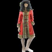 1970s Red Leather Rabbit Fur Trim Cossack Style Ladies Winter Coat A Line ' Size M