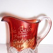 Ruby Stained Buttons Arches Souvenir Creamer 1925 Calgary Alberta