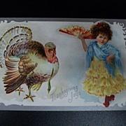 Vintage Thanksgiving Postcard Girl Spanish Outfit Turkey 1909