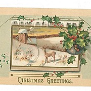 Vintage Christmas Postcard Embossed Deer Windmill MAB
