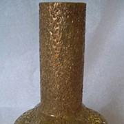 Antique Harrach Gold Frit Glass Vase Lemon Yellow