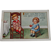 Thanksgiving Postcard  Children Apple