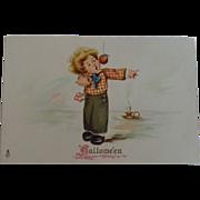 Tuck's Halloween Postcard Boy Apple on String Candle