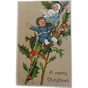 Christmas Postcard Embossed Children Holly 1909 Germany